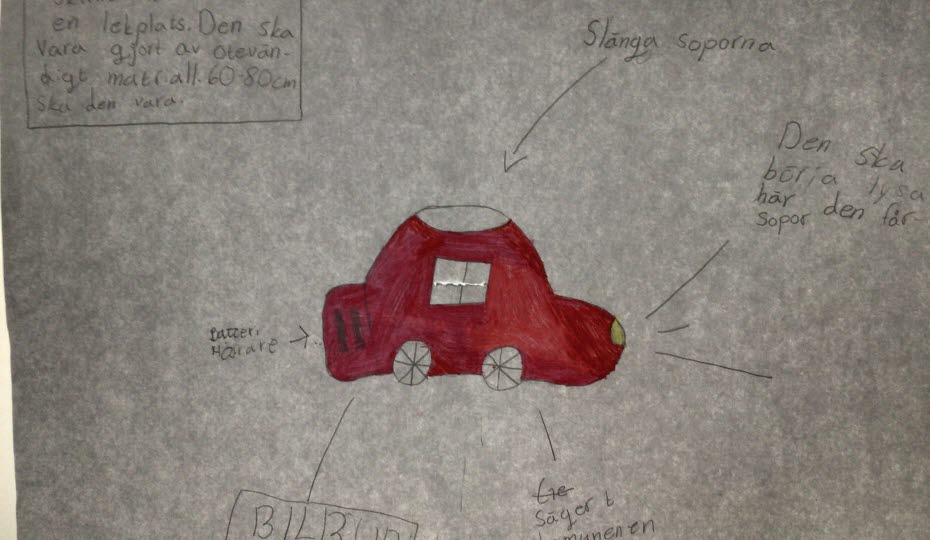 Teckning på en soptunna som ser ut som en bil och börjar lysa när den får sopor.