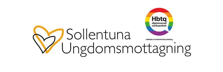 Sollentuna ungdomsmottagnings logotyp som är två hjärtan, samt logotypen för att de är en HBTQ-certifierad verksamhet