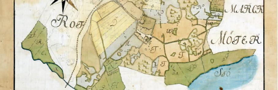 Handritad gammal karta över Sollentuna