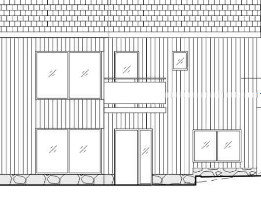 Illustration som visar exempel på rätt och fel sätt att markera tillbyggnad på fasadritning