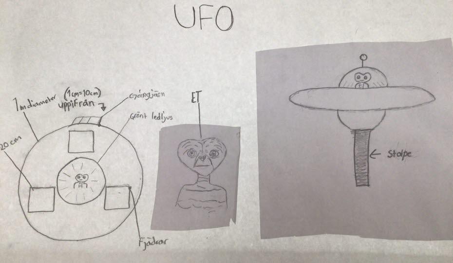 Teckning med en soptunna som ser ut som ett UFO.
