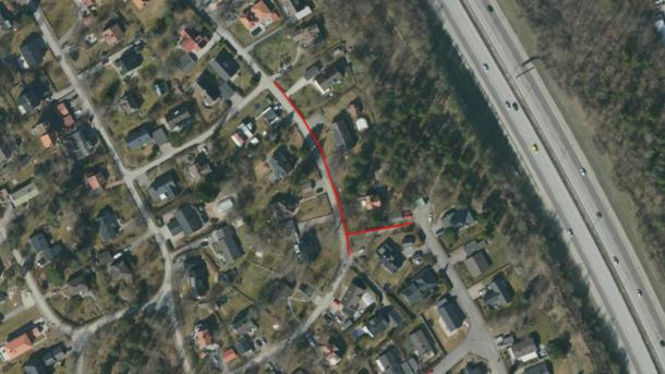 Flygbild med rött streck som markerar arbetet.
