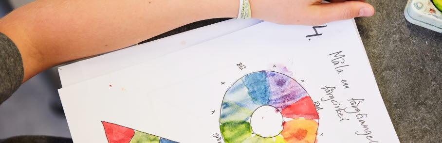 A4-papper med former färglagda med vattenfärg