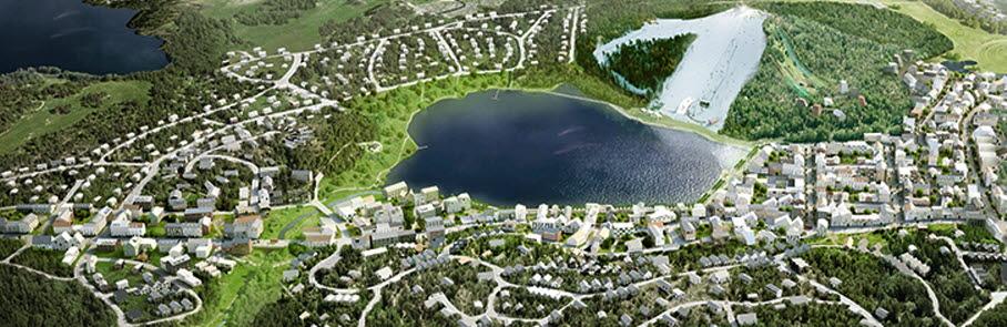 Arkitekt illustration med sjön Väsjön centralt  Norra Väsjön i förgrunden och Väsjöbacken med lite snö i en i övrigt grönskande bild.