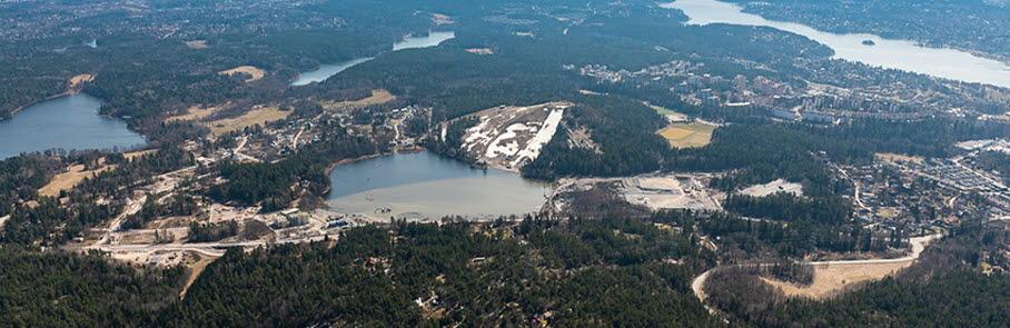 En flygbild över Väsjön.
