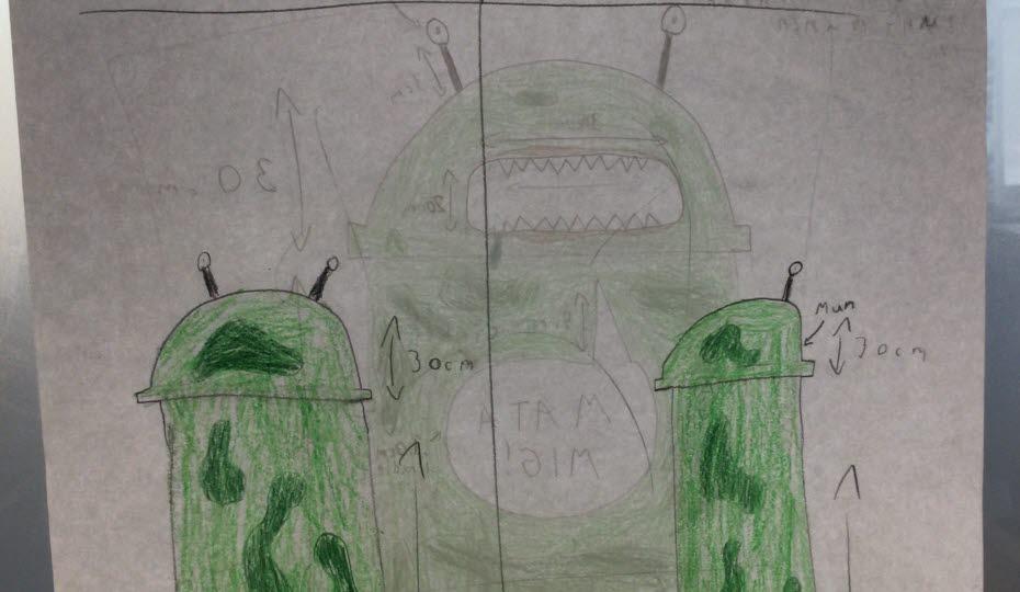 Teckning med en soptunna som ser ut som ett grönt monster.