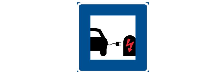 Skylt, laddstationer för elbilar