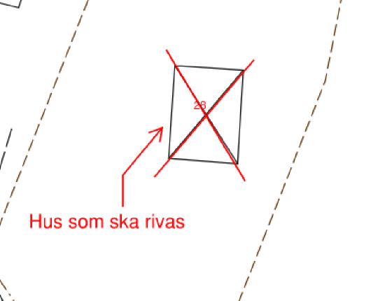 Exempelritningar som visar rätt och fel sätt att markera vilken byggnad som ska rivas