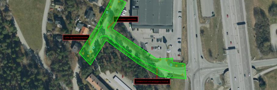 Flygbild med grön markering för arbetsområdet