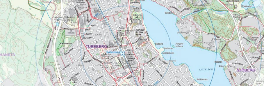 Bild från kommunens cykelkarta som visar cykelbanor i centrala Sollentuna.
