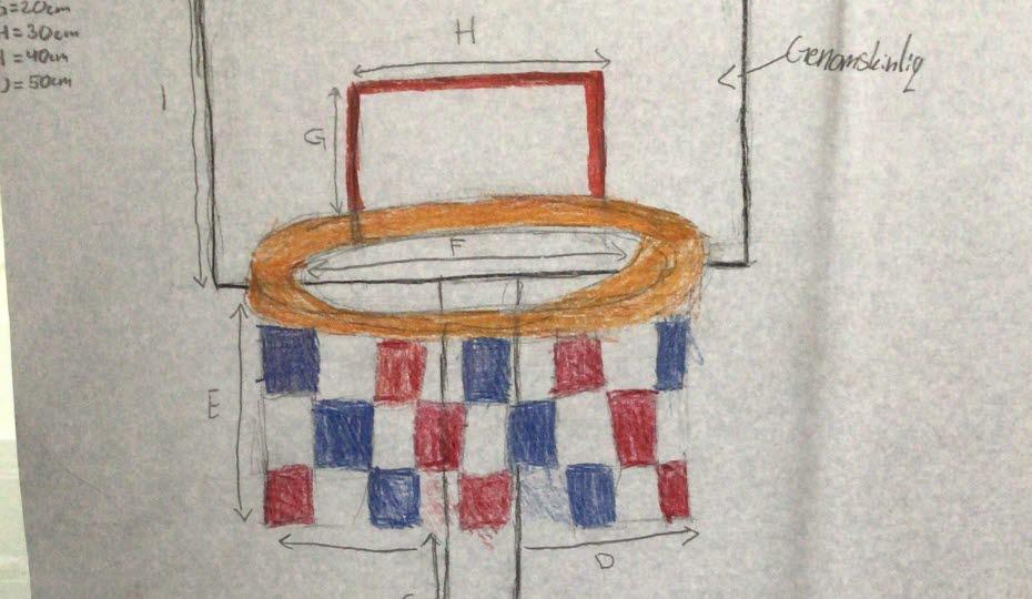 Teckning av en soptunna som ser ut som en basketkorg, där man slänger skräpet i korgen.