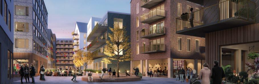 Illustration som visar hur ett kvarter med nya bostäder på köpcentret Stinses yta kan se ut.