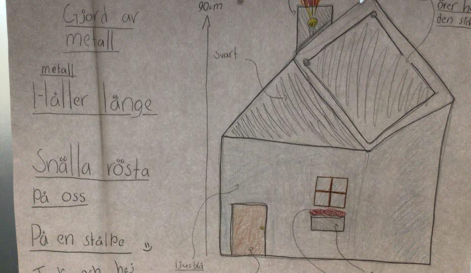 Teckning med en soptunna som ser ut som ett hus och sitter på en pinne.