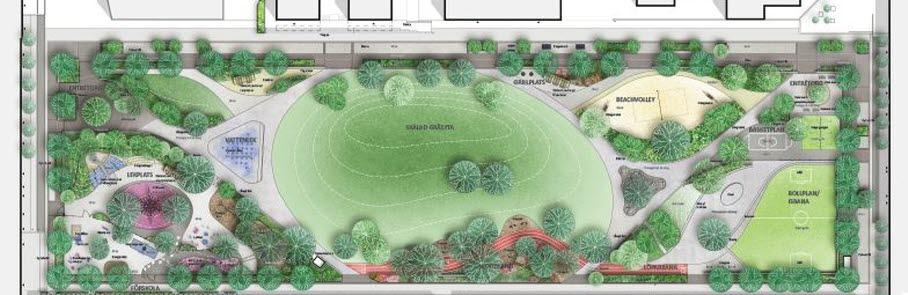 Bilden föreställer en illustration över hur Malmparken kommer se ut när den är klar.