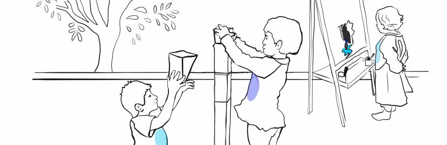 Teckning av barn som staplar klossar