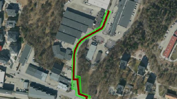 Flygbild med grön markering för arbetsområdet.