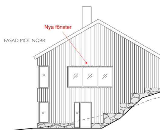 Bild på korrekt  fasadritning med den önskade åtgärden tydligt markerad.