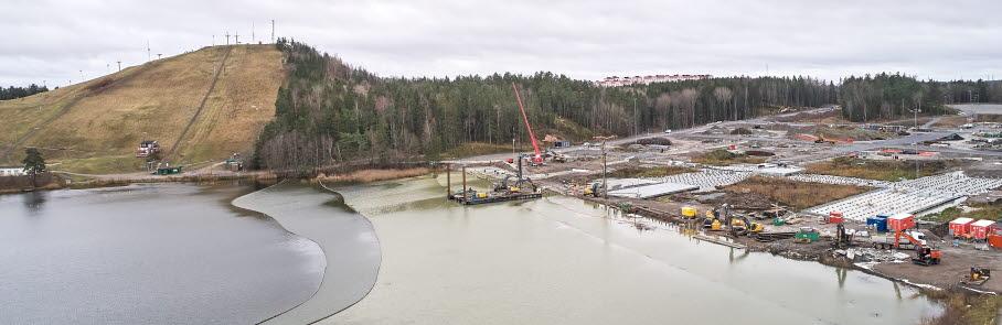 Byggarbetsplats i Väsjön